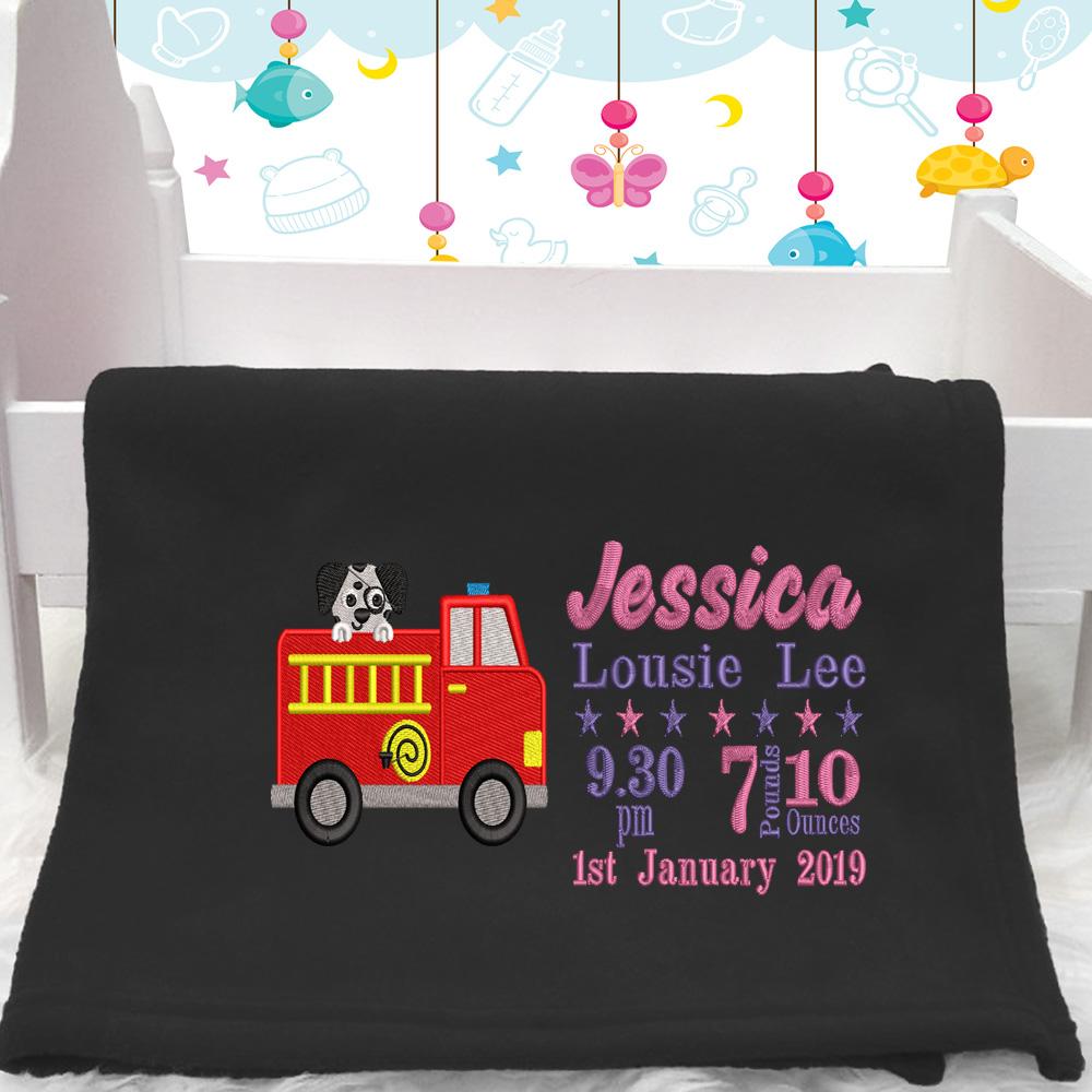 Personalised Fire Engine Baby Blanket (Birth Block)