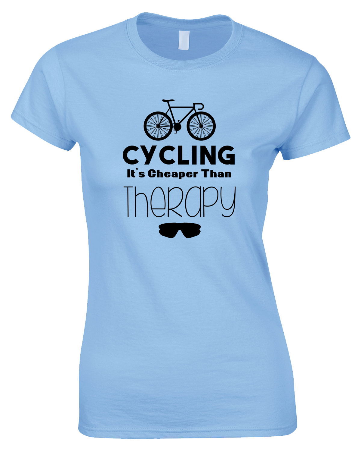 Cycling It's Cheaper Than Therapy-Ladies Style T Shirt