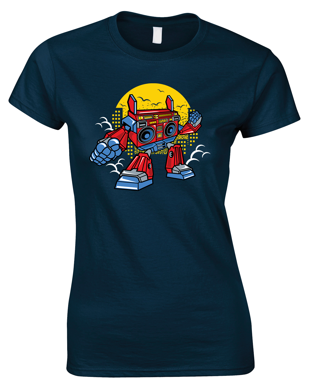 Boombox Robot Funny Ladies Style T Shirt