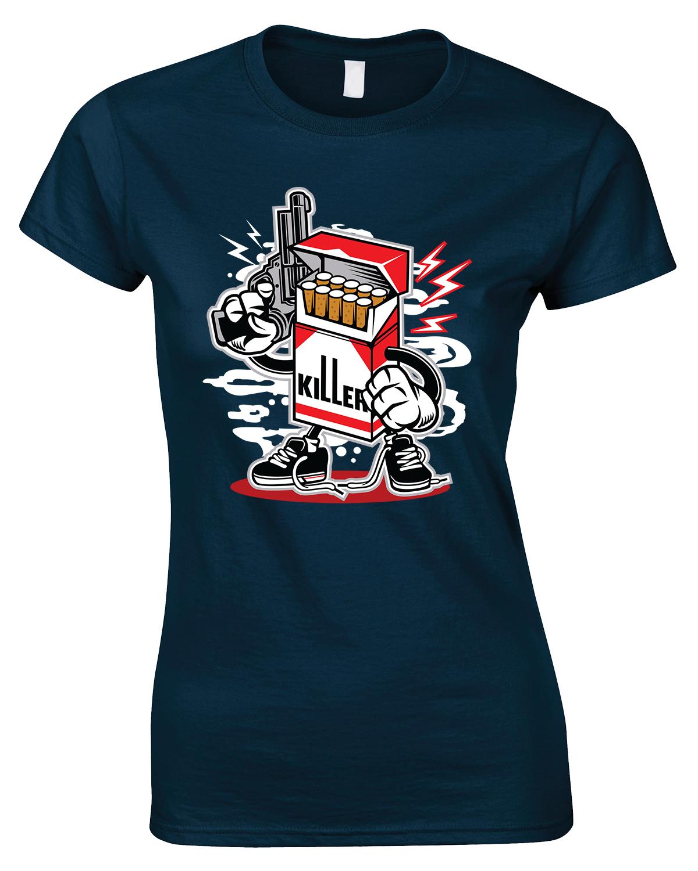 Cigarette Killer Ladies Funny T Shirt