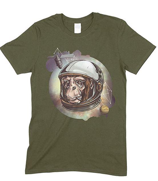 Space Cosmic Chimp,Novelty Funny Men's T Shirt