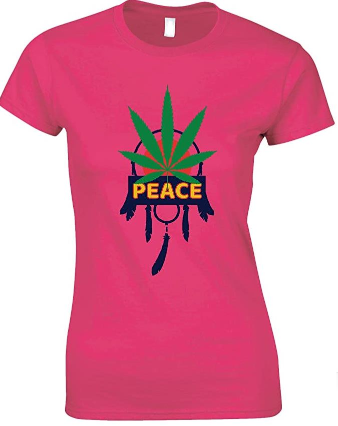Peace Dreamcatcher Weed Ladies T Shirt