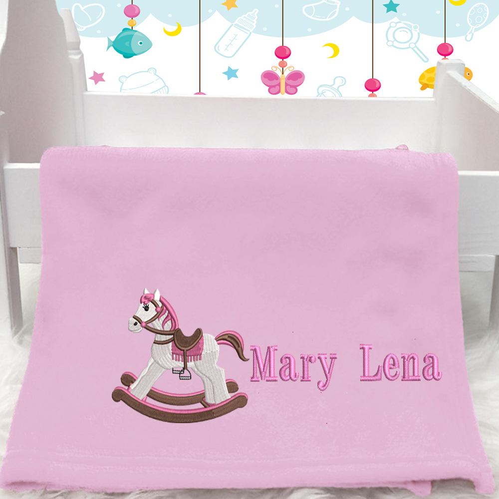 Personalised Pink Rocking Horse Baby Blanket (Name)