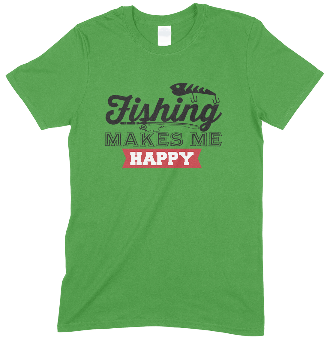 Fishing Makes Me Happy-Adults Fishing T Shirt