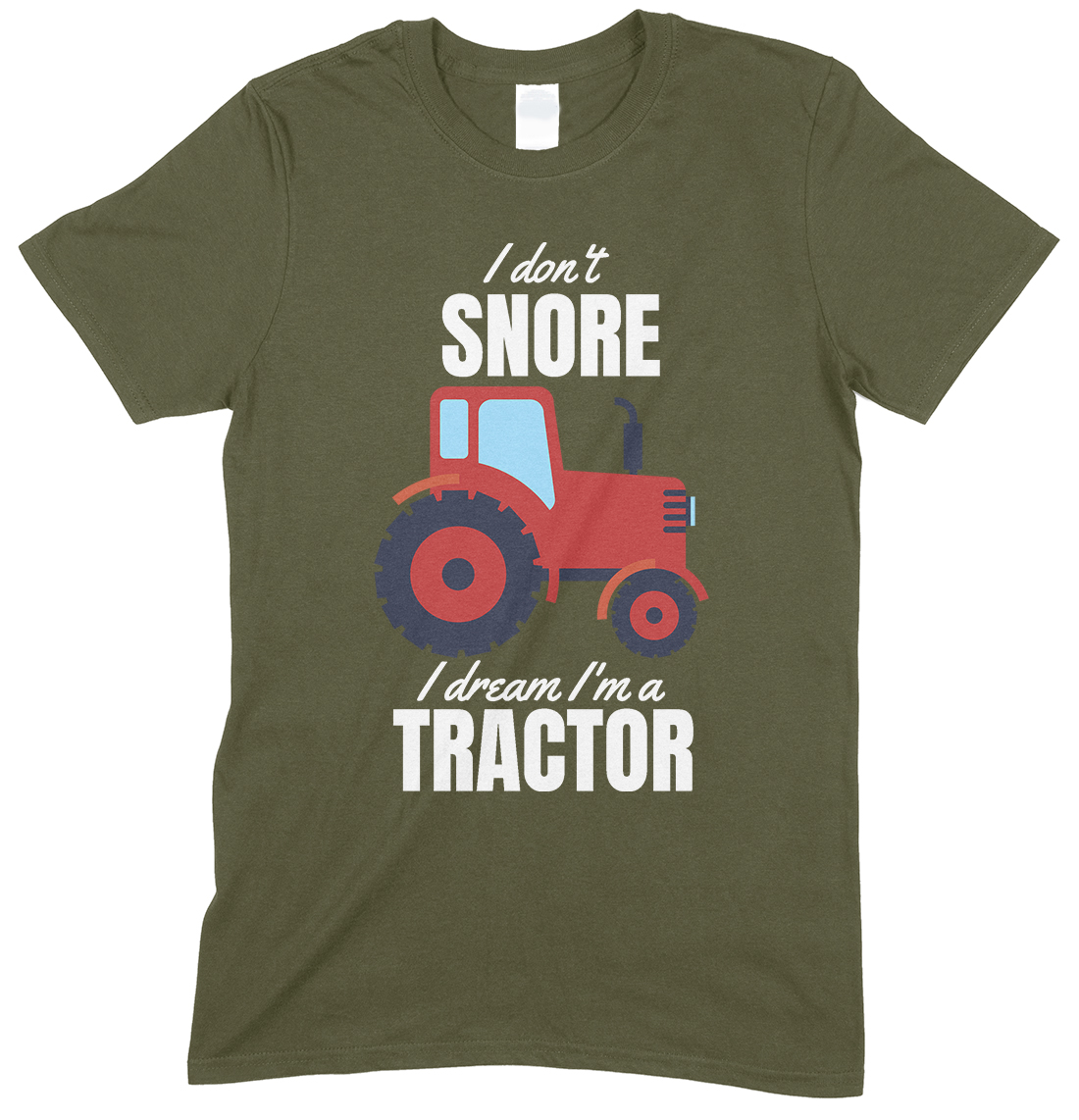 Adults Novelty Funny Mens I Dont Snore I Dream I'm A Red Tractor T Shirt