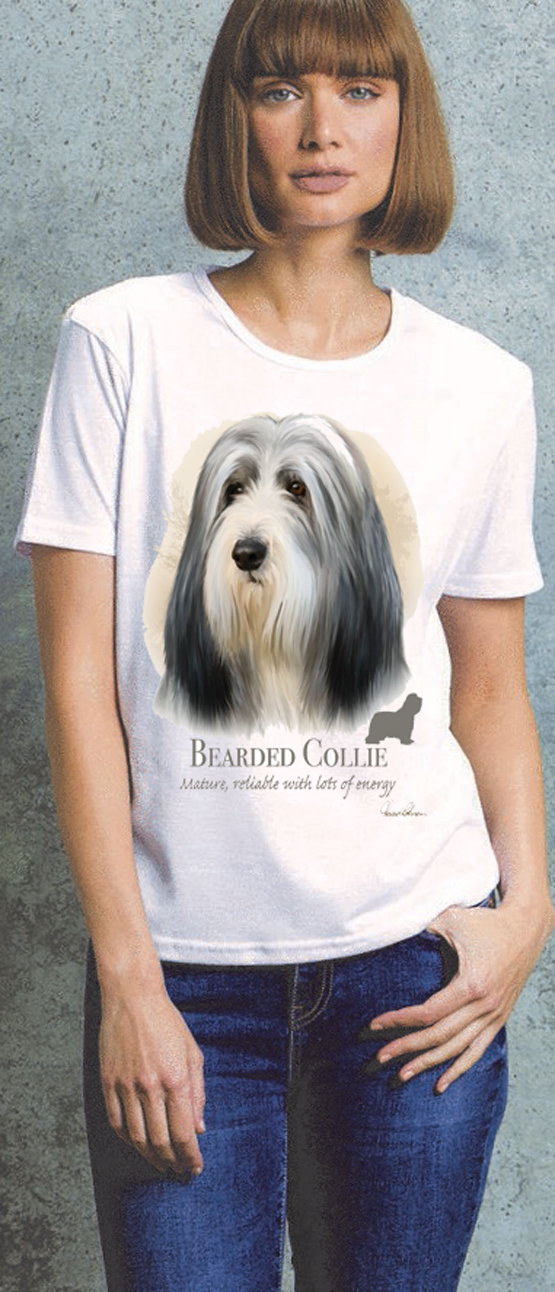 Bearded Collie Ladies T Shirt