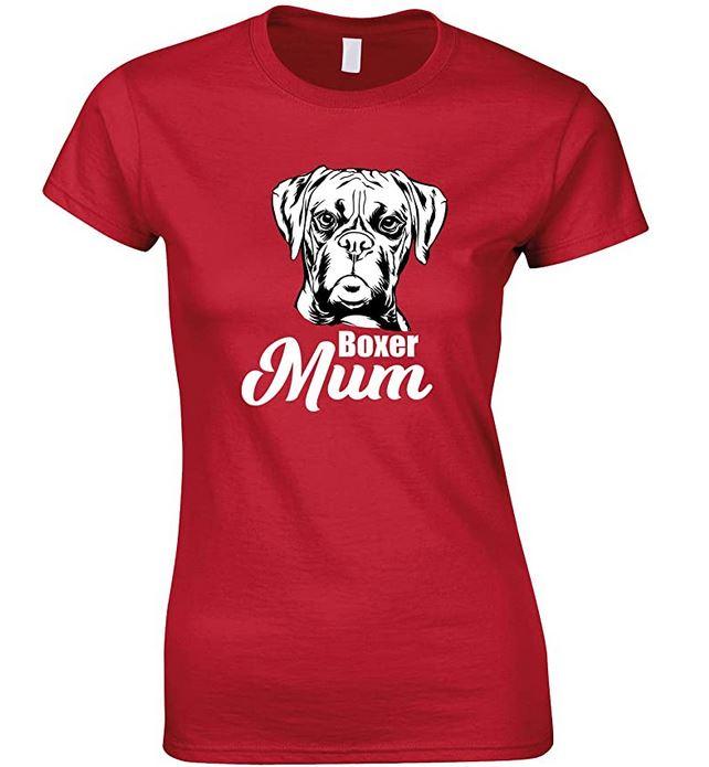 Boxer Face Dog Mum-Ladies T Shirt