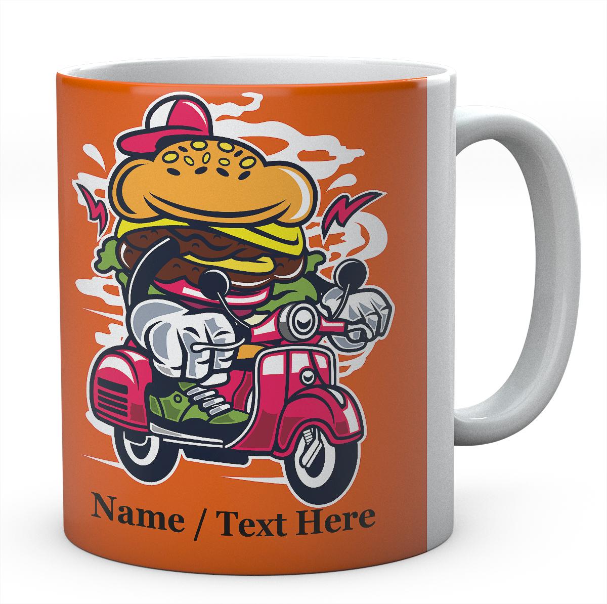 Burger Scooter Cartoon Funny Personalised Ceramic Mug