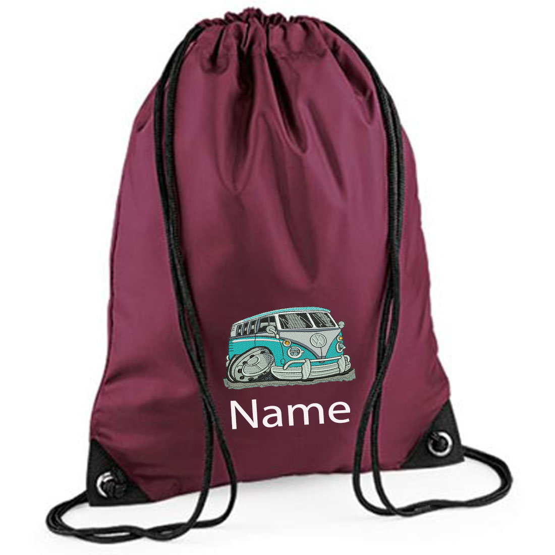 Embroidered Blue Camper Van Drawstring Gym Bag