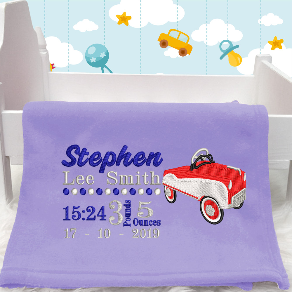 Personalised Car Baby Blanket (Birth Block)