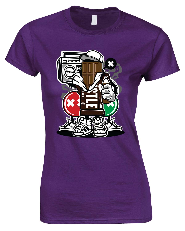 Chocolate Square Cartoon - Ladies Funny T Shirt