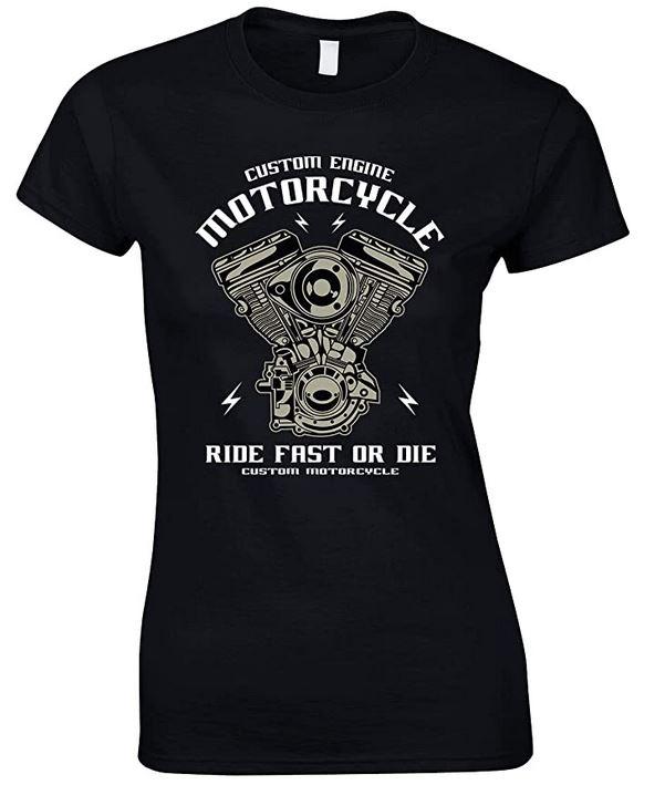 Custom Engine Motorcycle Ride Fast Or Die - Ladies T Shirt