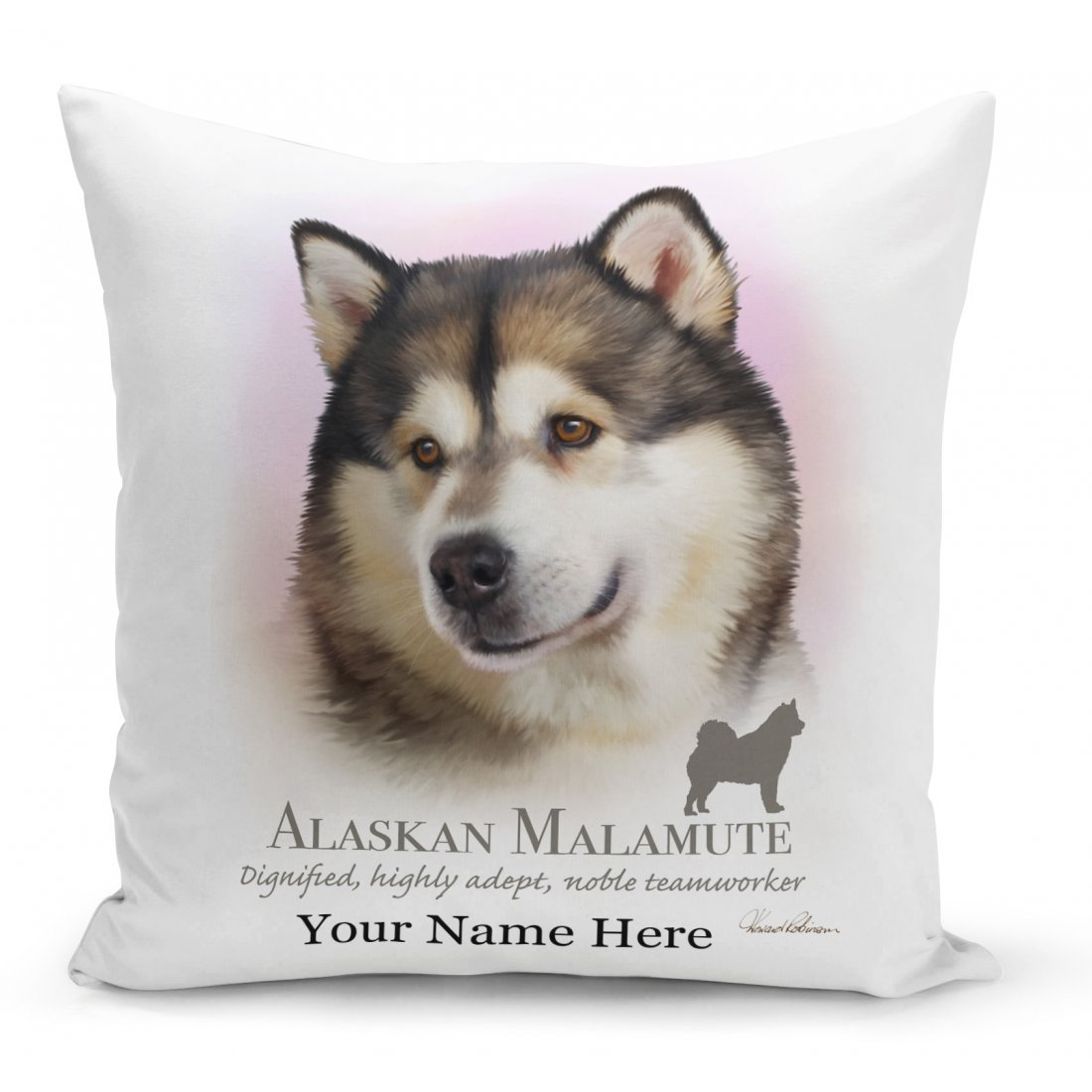 Customisable Alaskan Malamute Dog Cushion