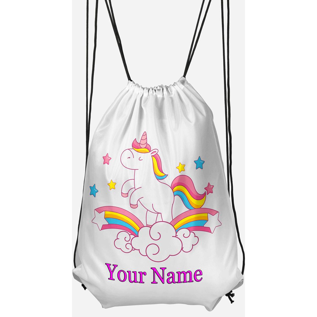 Customised Dancing Unicorn Drawstring Gym Bag