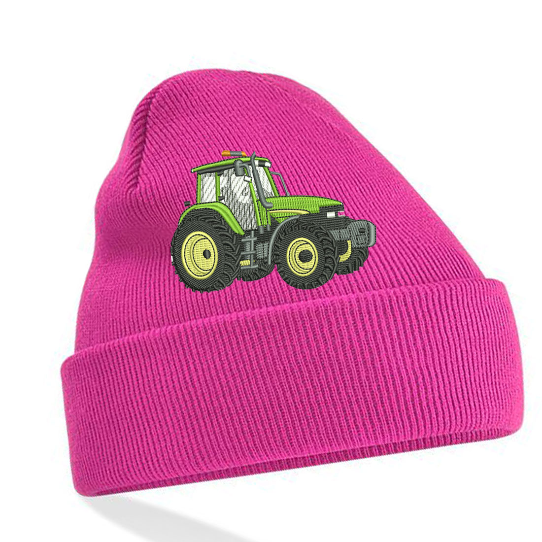 Embroidered Green Tractor Unisex Beanie with cuff