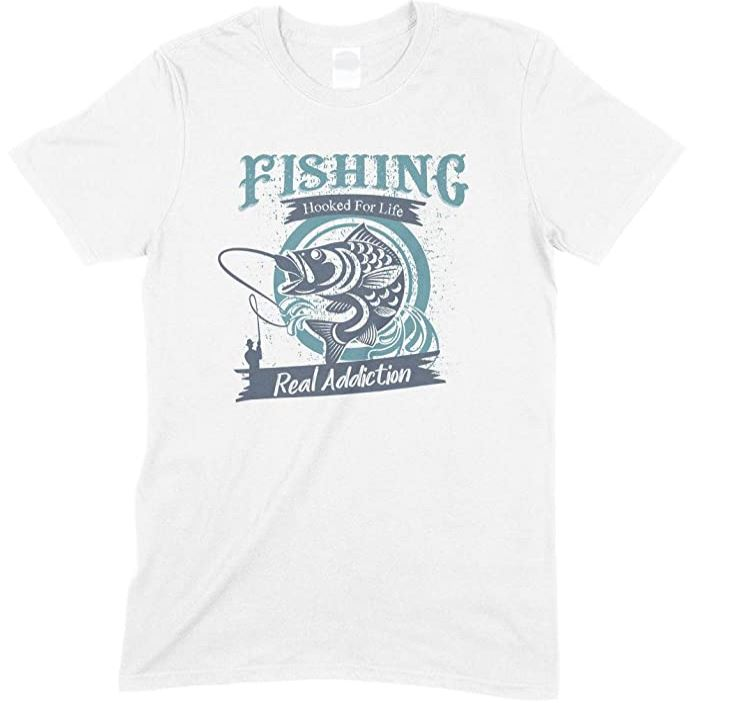 Fishing Hooked for Life -Real Addiction-Kids T Shirt Boy-Girl