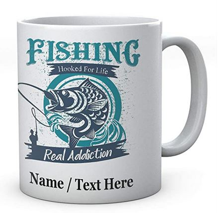 Fishing Hooked for Life Real Addiction - Fishermen's Personalised Ceramic Mug