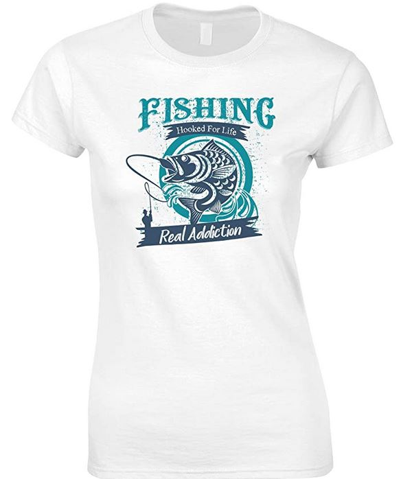 Fishing Hooked for Life Real Addiction - Ladies Fishing T Shirt