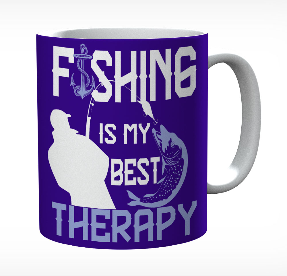 Fishing Is My Best Therapy Ceramic Mug