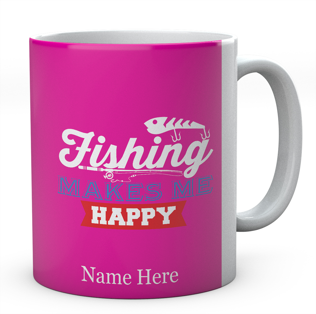 Fishing Makes Me Happy-Personalised Mug