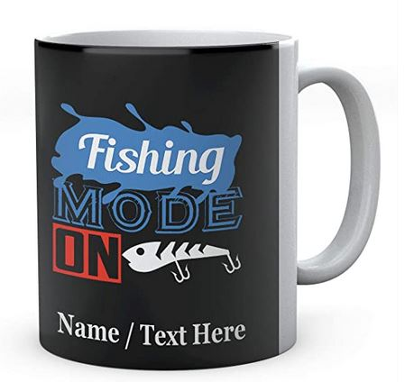 Fishing Mode On -Personalised With Name Ceramic Mug
