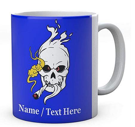 Flaming Skull Smoking Weed 1- Mug