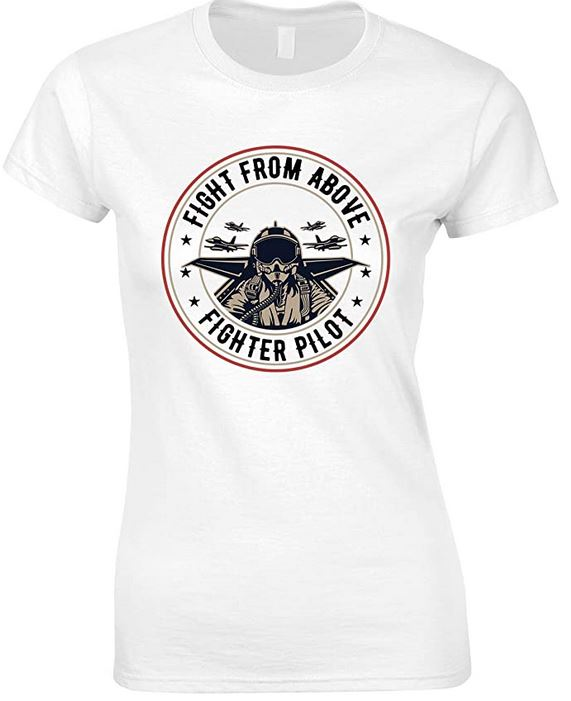 Fighter from Above- Fighter Pilot - Ladies Fun T Shirt