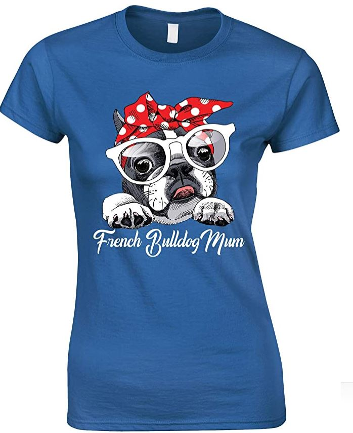 Cute-French Bulldog Dog Mum-Ladies T Shirt