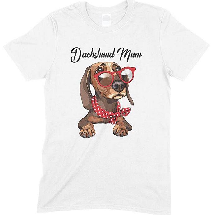 Funny Cute Dachshund Wearing Red Glasses Dog Mum - Unisex T Shirt