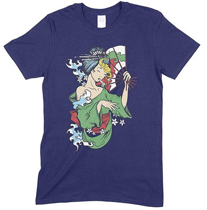 Geisha Smoking Weed  - Men's unisex T Shirt
