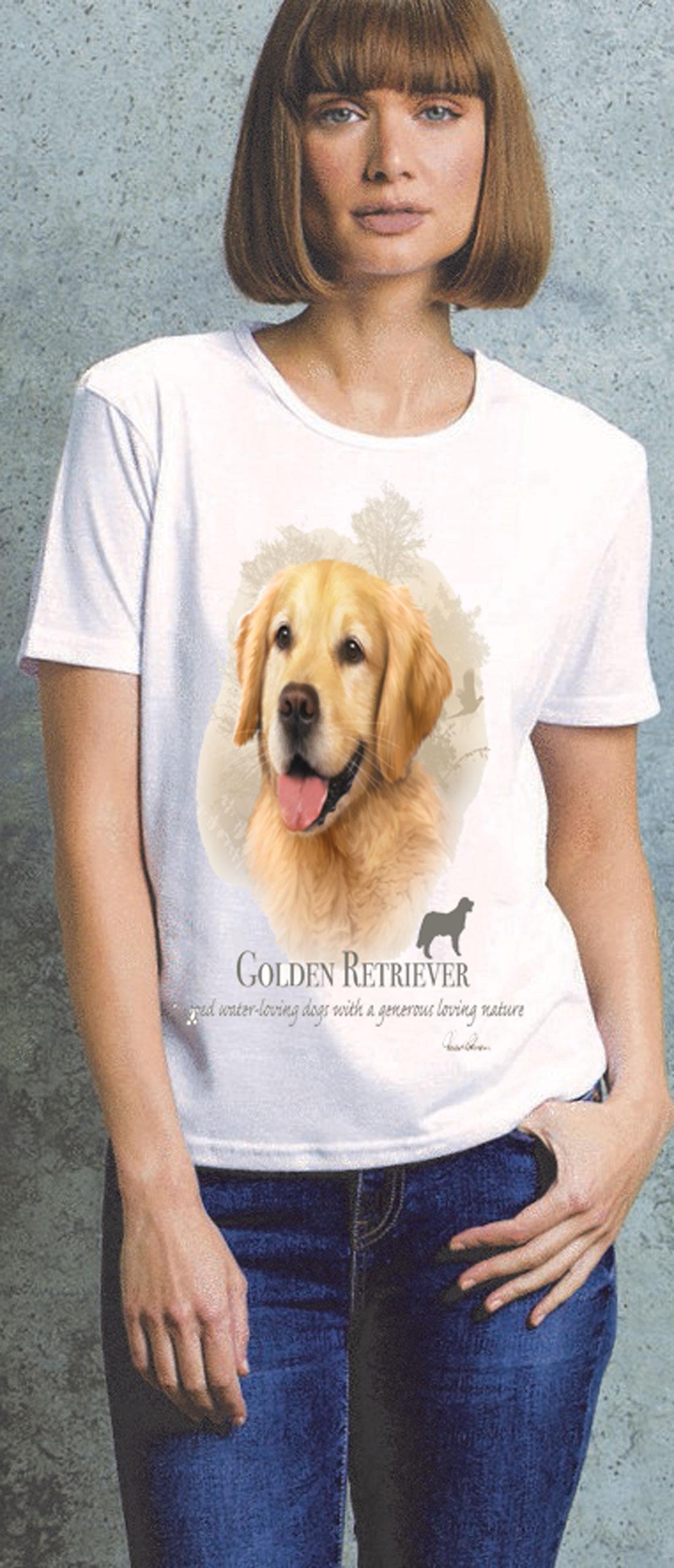 Golden Retriever Ladies T Shirt
