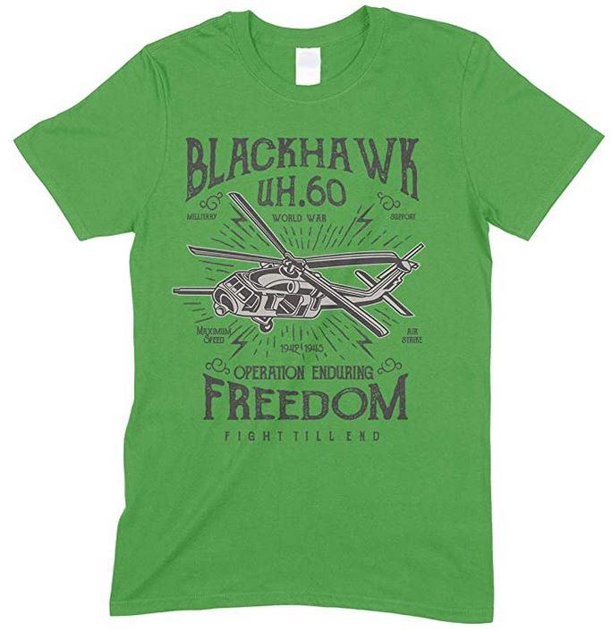 Children's- Blackhawk UH.60 World War Operation Enduring Freedom Fight Till End -T Shirt Boy-Girl