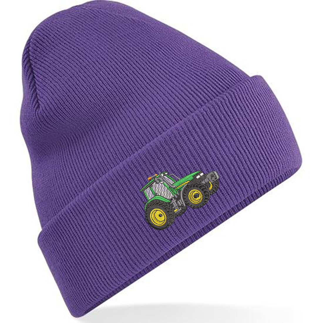 Embroidered Green Tractor Adults Unisex Beanie/Hat with Cuff .