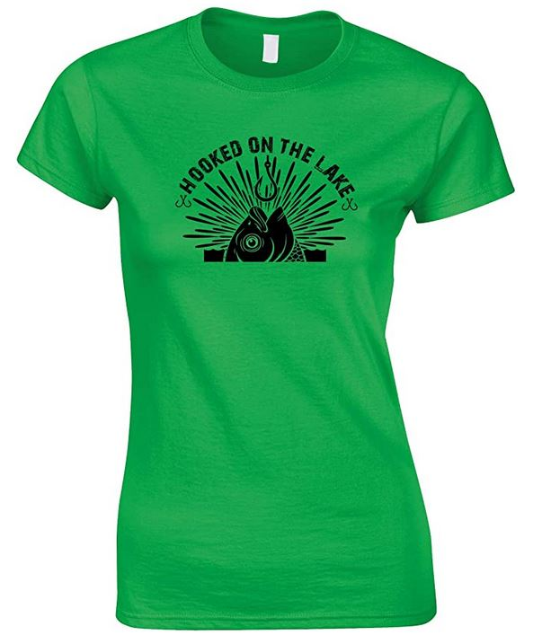 Hooked On The Lakes- Ladies Fishing T Shirt