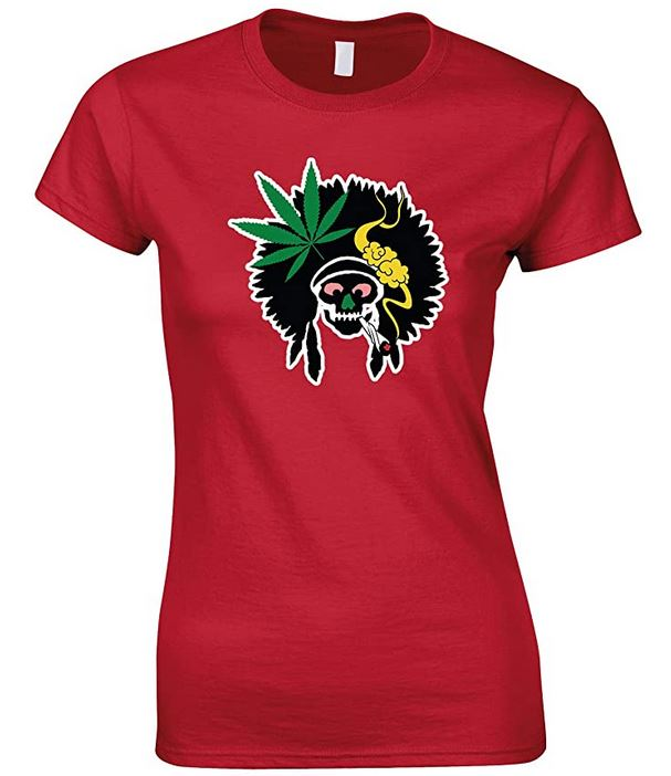 Indian Skull Smoking Weed - Ladies Fun T Shirt