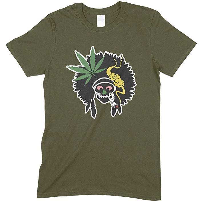 Funny Men's Indian Skull Smoking Weed- Unisex T Shirt