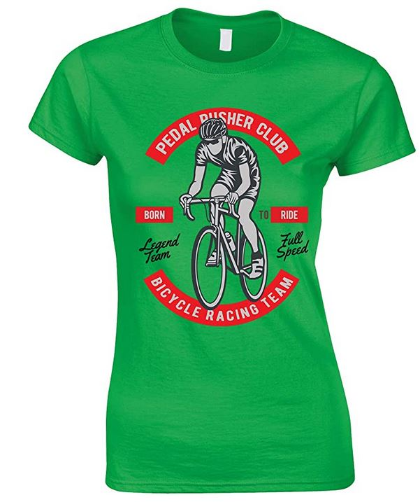 Pedal Pusher Club Bicycle Racing Team - Bike Born to Ride Ladies T Shirt