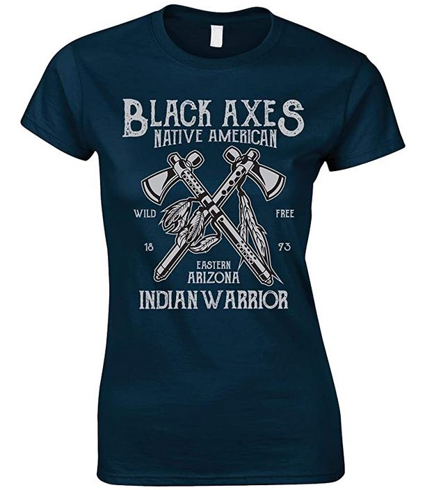 Black Axes Native American Indian Warrior-Ladies T Shirt