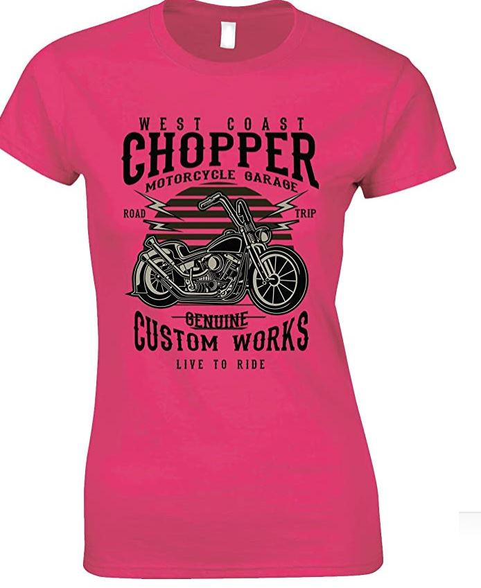 Ladies -West Coast -Chopper Motorcycles Garage- Live to Ride T-Shirt
