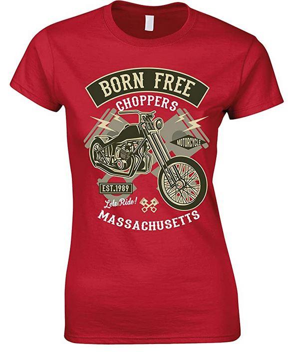 Ladies - Born Free Choppers Massachusetts -T Shirt