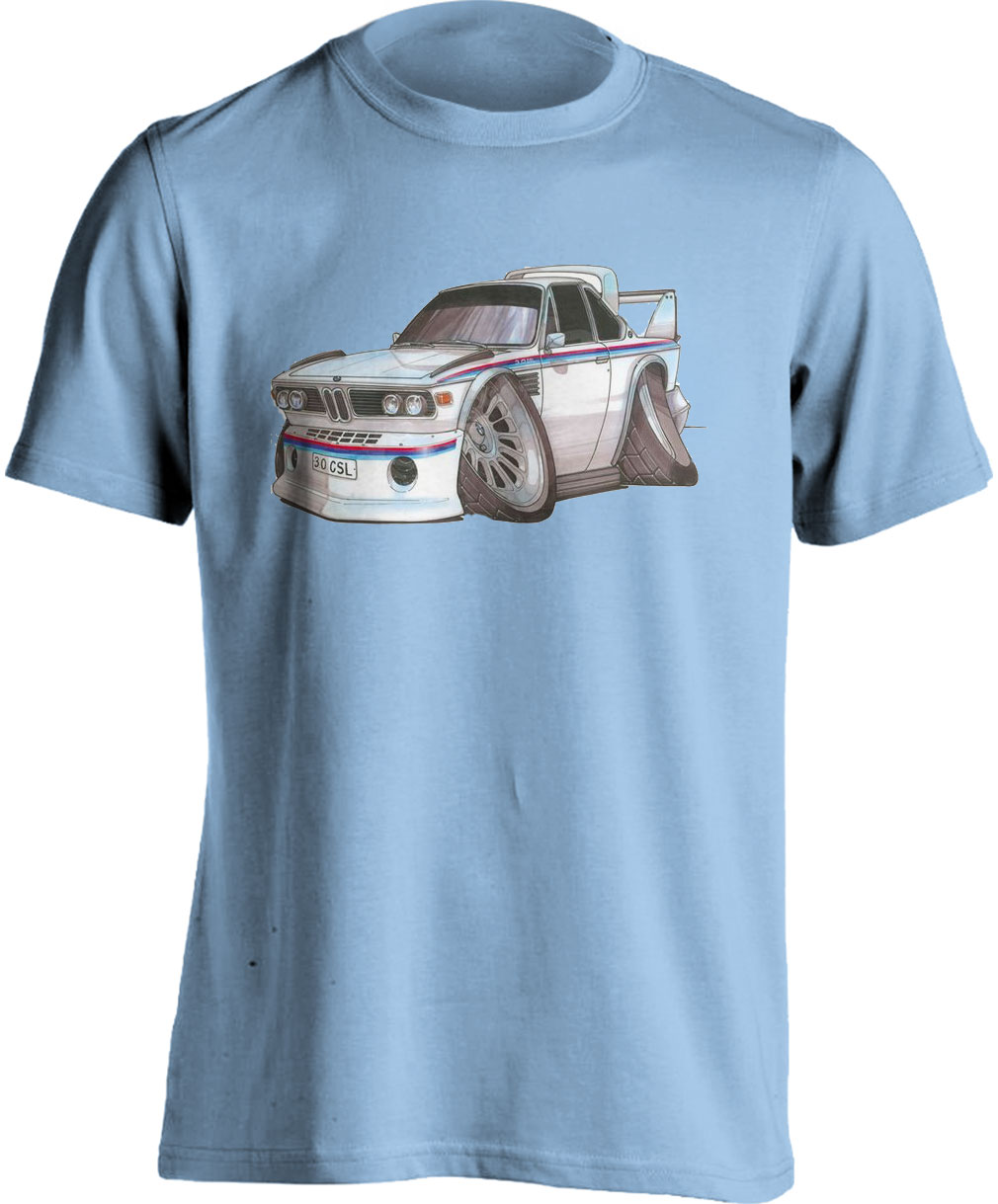 Koolart BMW 3.0 CSi White/Red&Blue Stripe 0732 Adults T Shirt