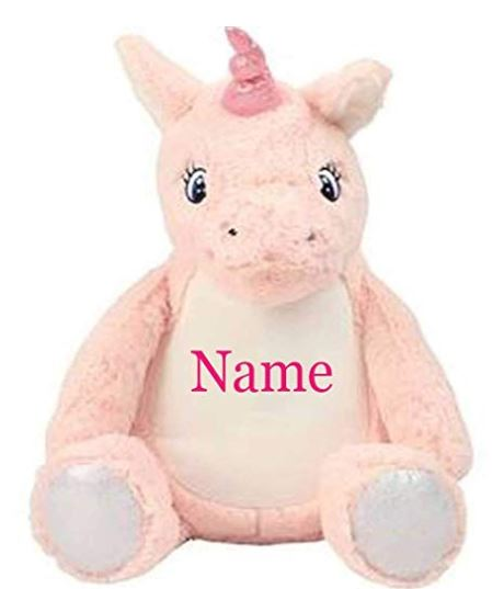 Mumbles Personalised Embroidered Unicorn Pink Teddy Bear