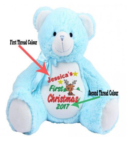 My 1st ChristmasPersonalised Teddy Bear(ReinDeer Image)