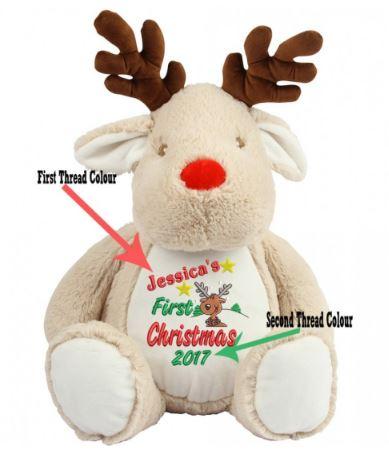 My 1st Christmas Reindeer Personalised Teddy Bear
