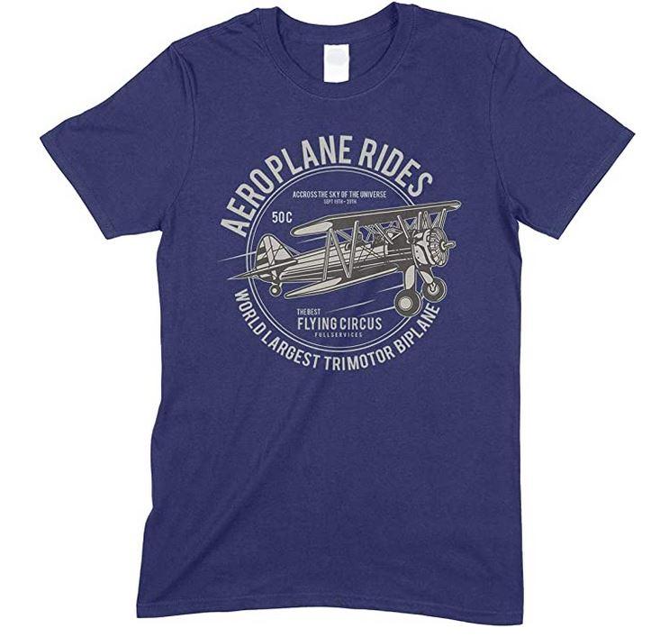 Aeroplane Ride-World Largest Trimotor Biplane Men's Novelty T Shirt