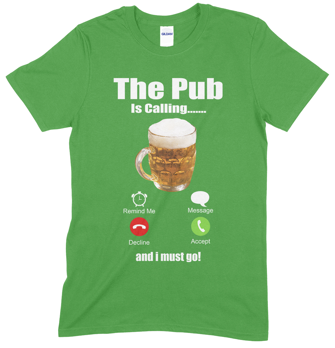 Novelty Funny Unisex T Shirt,(Pint Glass) The Pub is Calling & I Must Go…