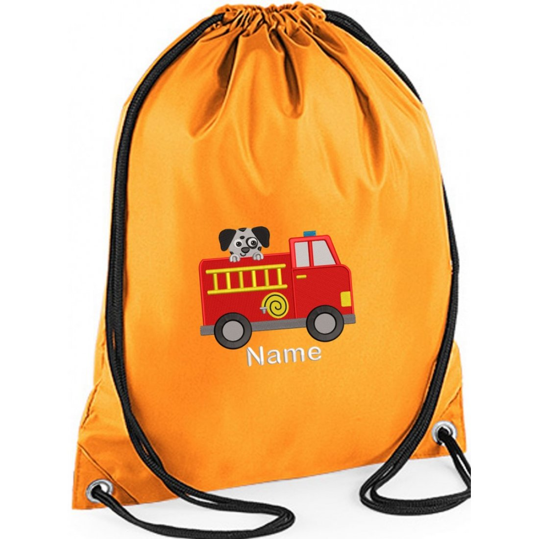 Personalised EMBROIDERED  Fire Engine Drawstring Gym Bag