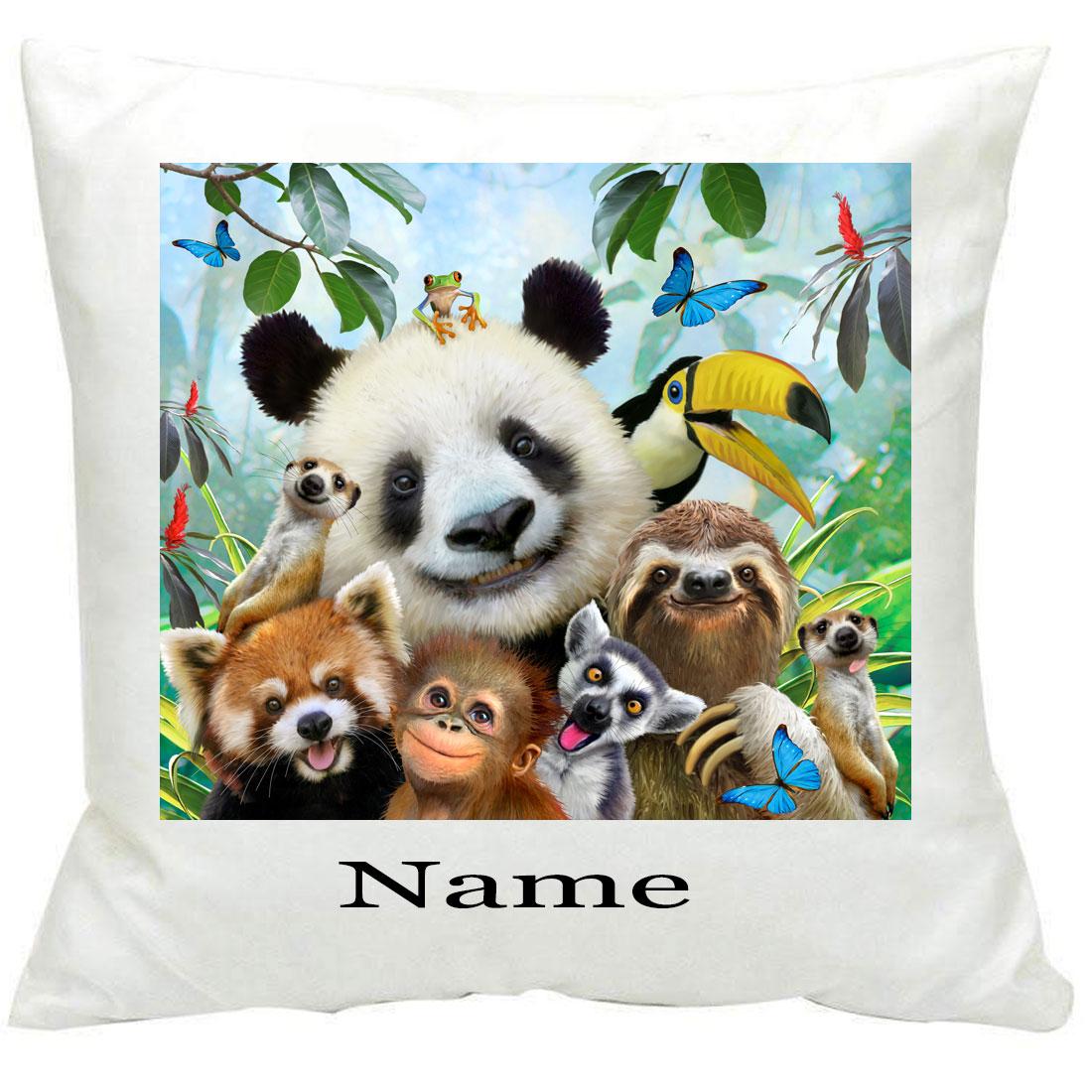 Personalised885 Zoo Selfie Printed Cushion
