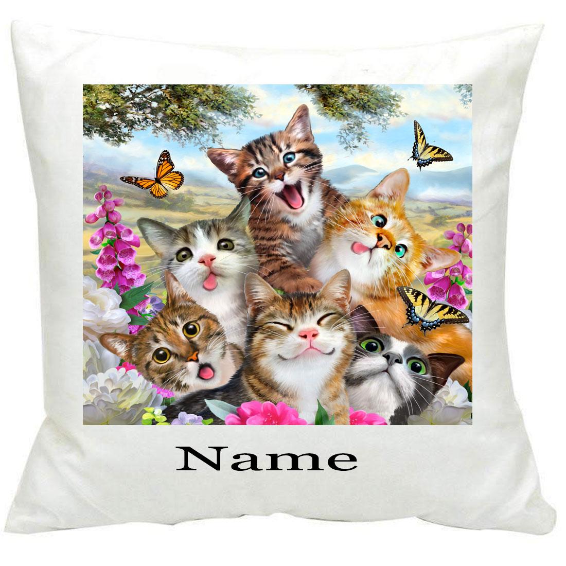 Personalised886 Cat Selfie Printed Cushion