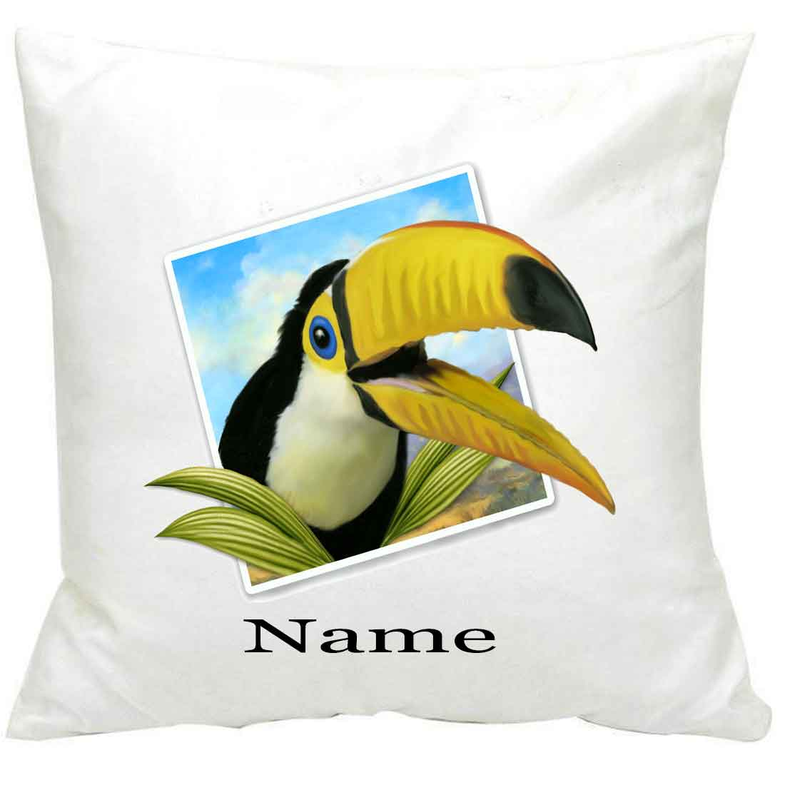 Personalised Toucan Selfie Printed Cushion
